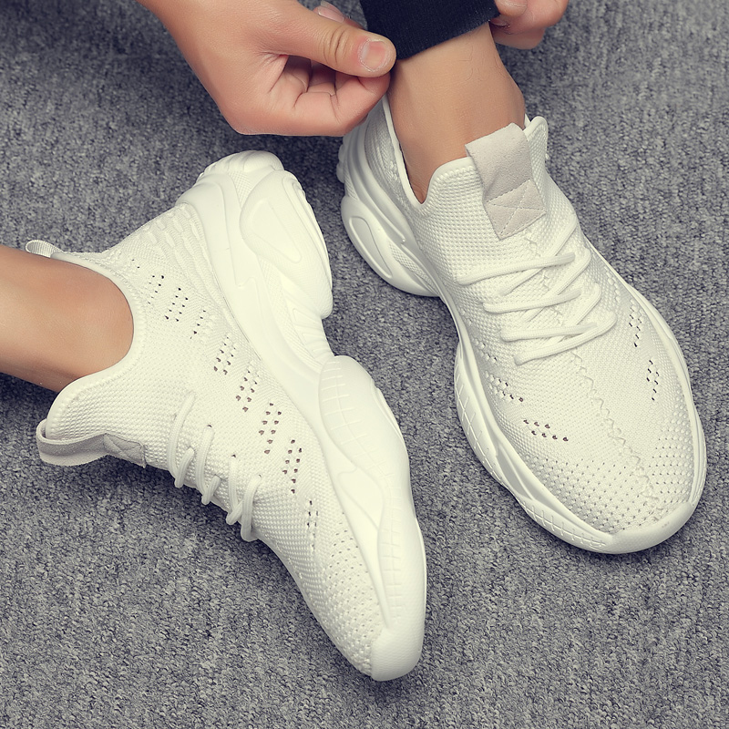 Men s shoes summer sneakers breathable fly weave trend small white shoes men joker trend sports