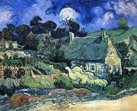 Modern Art Oil Paintings Houses With Thatched Roofs Cordeville Vincent Van Gogh Reproduction Canvas Hand Painted