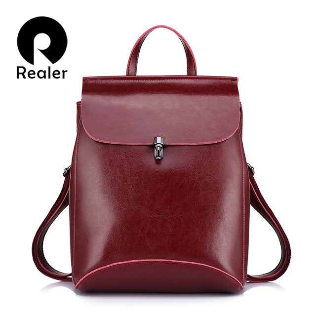 REALER brand genuine leather women backpack high quality oil wax cow leather vintage backpack casual bag female shoulder bag