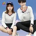 Roupas Para Os Amantes casais Homens Mulheres Outono Inverno V Neck parte superior Ocasional Letra T-Shirt Impressão Stripe Matching Casal Coreano T camisas