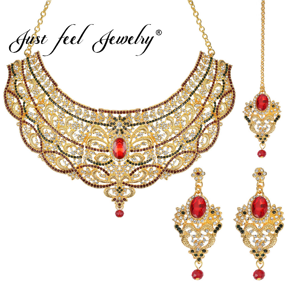 JUST FEEL Indian Gold Color Crystal Jewelry Sets For Women Fashion Chain Headdress Necklace Earrings Dubai Wedding Charm BridalJUST FEEL Indian Gold Color Crystal Jewelry Sets For Women Fashion Chain Headdress Necklace Earrings Dubai Wedding Charm Bridal