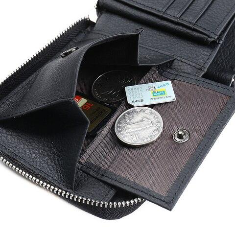 New Genuine Leather Men Wallet Luxury Brand Wallets Short Zipper Male Wallet Money Purses Cowhide Leather Card Holder Wallet Multan