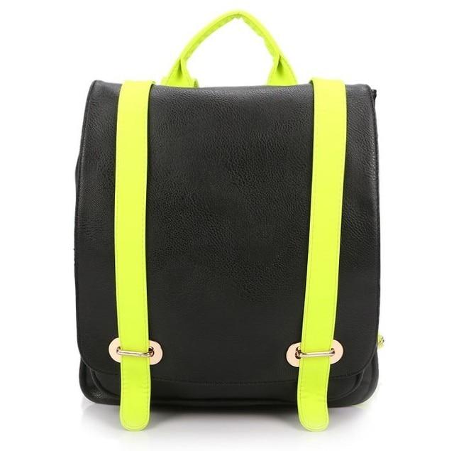 Spring full 2013 PU casual neon color strap color block backpack fashion women's handbag