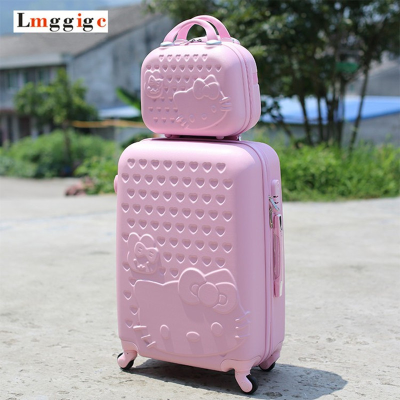 цена на Women Children Luggage Suitcase ,Hello Kitty bag set,Cartoon Travel Box with Rolling ,ABS Hardcase Trolley Universal Wheel bag