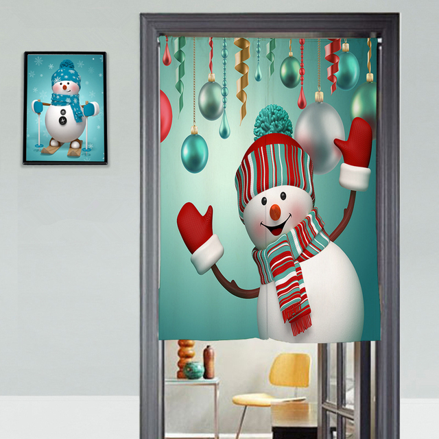 Bon Senisaihon Canvas 3D Door Curtains Panel Christmas Snowman Pattern Thicken Kitchen  Curtains Bedroom Curtains For Living