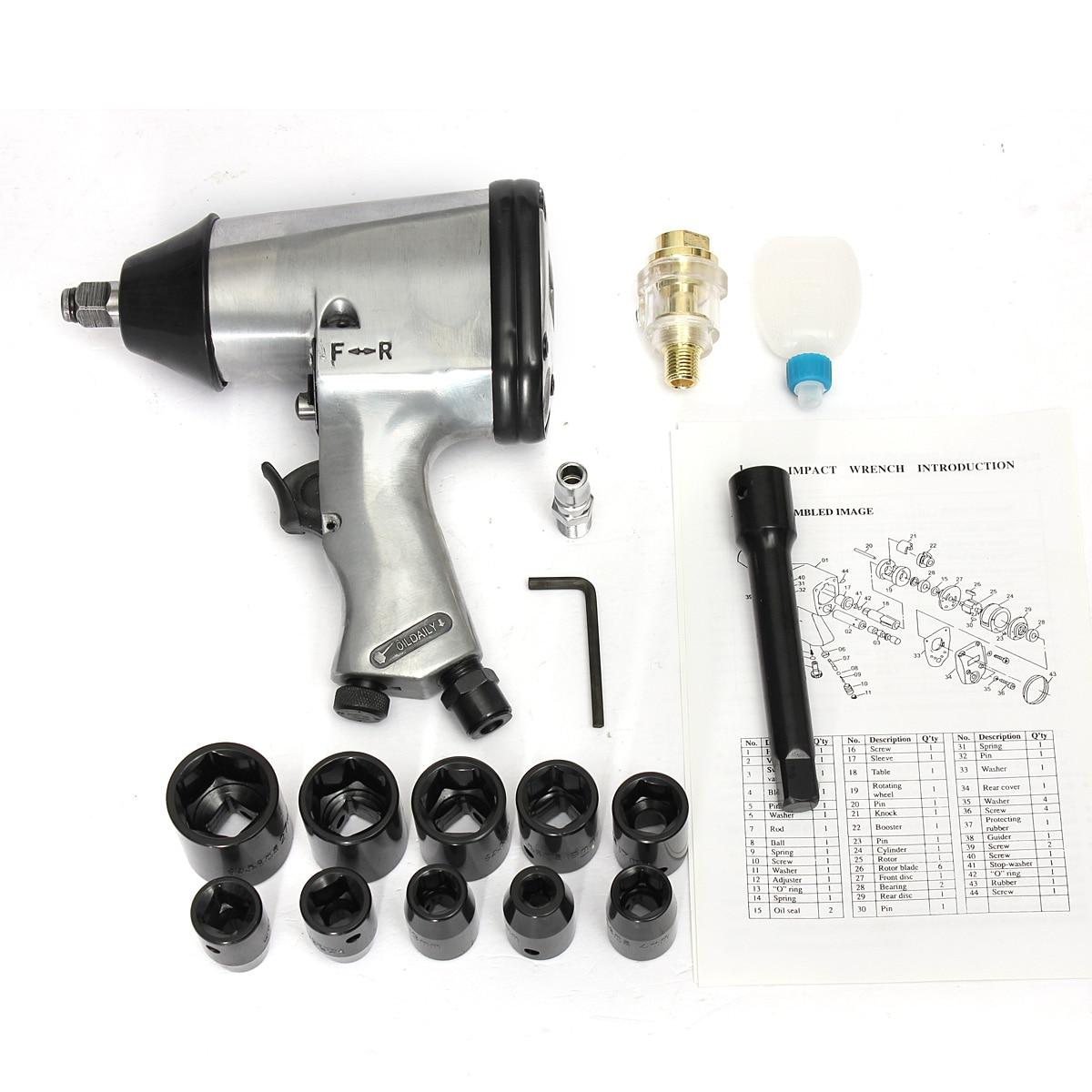 17 PC 1/2 ''Kit de clé hexagonale à Impact d'air ensemble d'outils à douille à hochet métrique pneumatique
