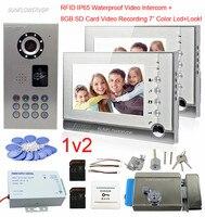 8 Гб SD карты Запись IP65 Водонепроницаемый Rfid домофоны для частного дома 2 квартиры домашнего видео телефон добавить дверной замок 7 ЖК диспле