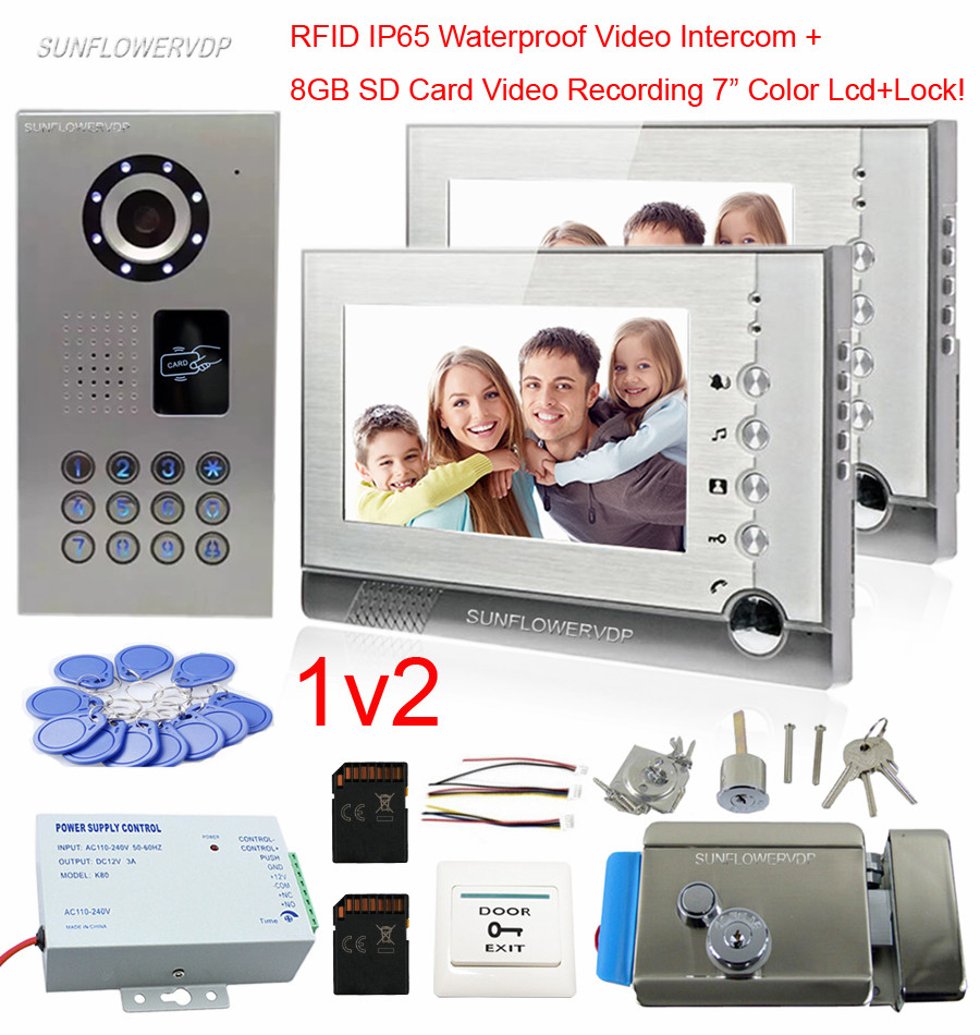 8GB SD Card Recording IP65 Waterproof Rfid Intercoms For A Private House Of 2 Apartments Home Video Phone Add Door Lock 7 Lcds private l a