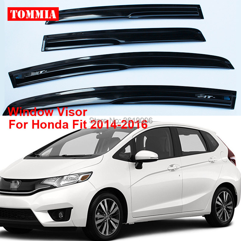 tommia 4pcs Window Visor Shade Vent Wind Rain Deflector Guards Cover For Honda Fit 2014-2018 window visor rain sun deflector shade guards 4pcs for land rover discovery 4 lr4 2015 2014 2013 2012 2011 2010