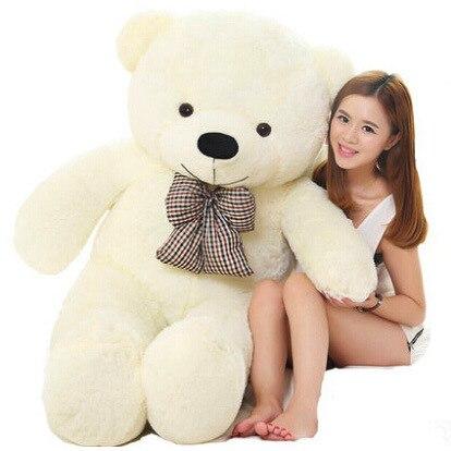 220 см огромный плюшевый медведь мягкие плюшевые игрушки Размер жизни плюшевый мишка мягкие детские мягкие плюшевые низкая цена Рождественский подарок - Цвет: Белый