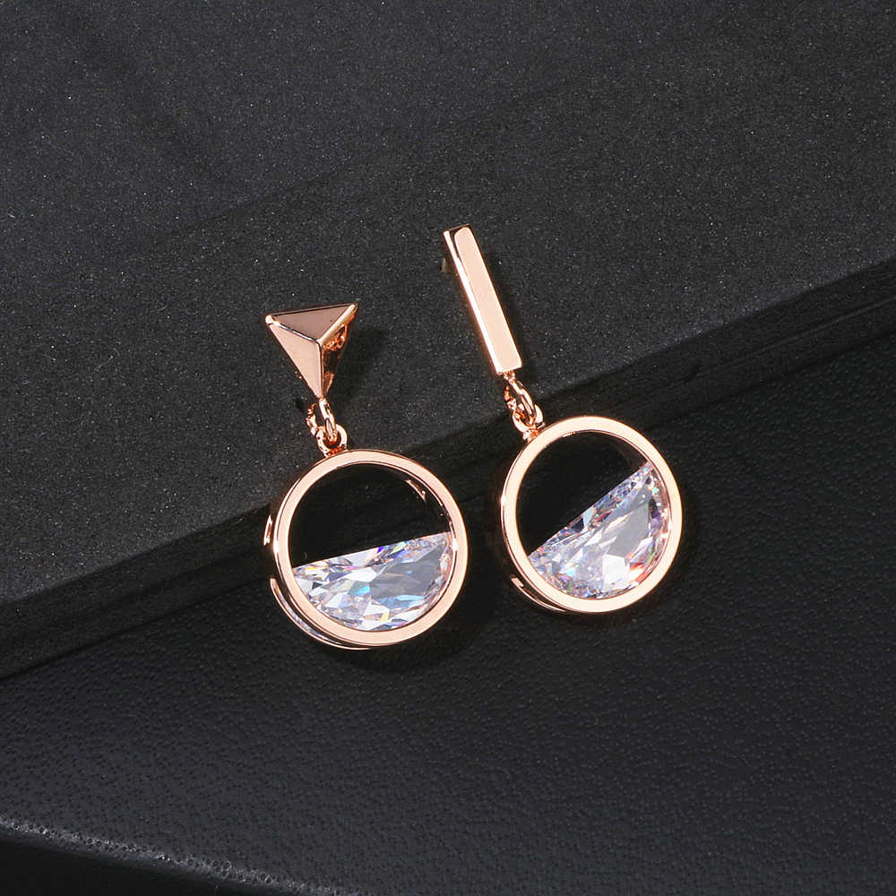 2018 New Design Asymmetric Earrings For Women Geometric Shape Rose Gold Color Crystal Drop Earrings Female Jewelry Gift  WX109
