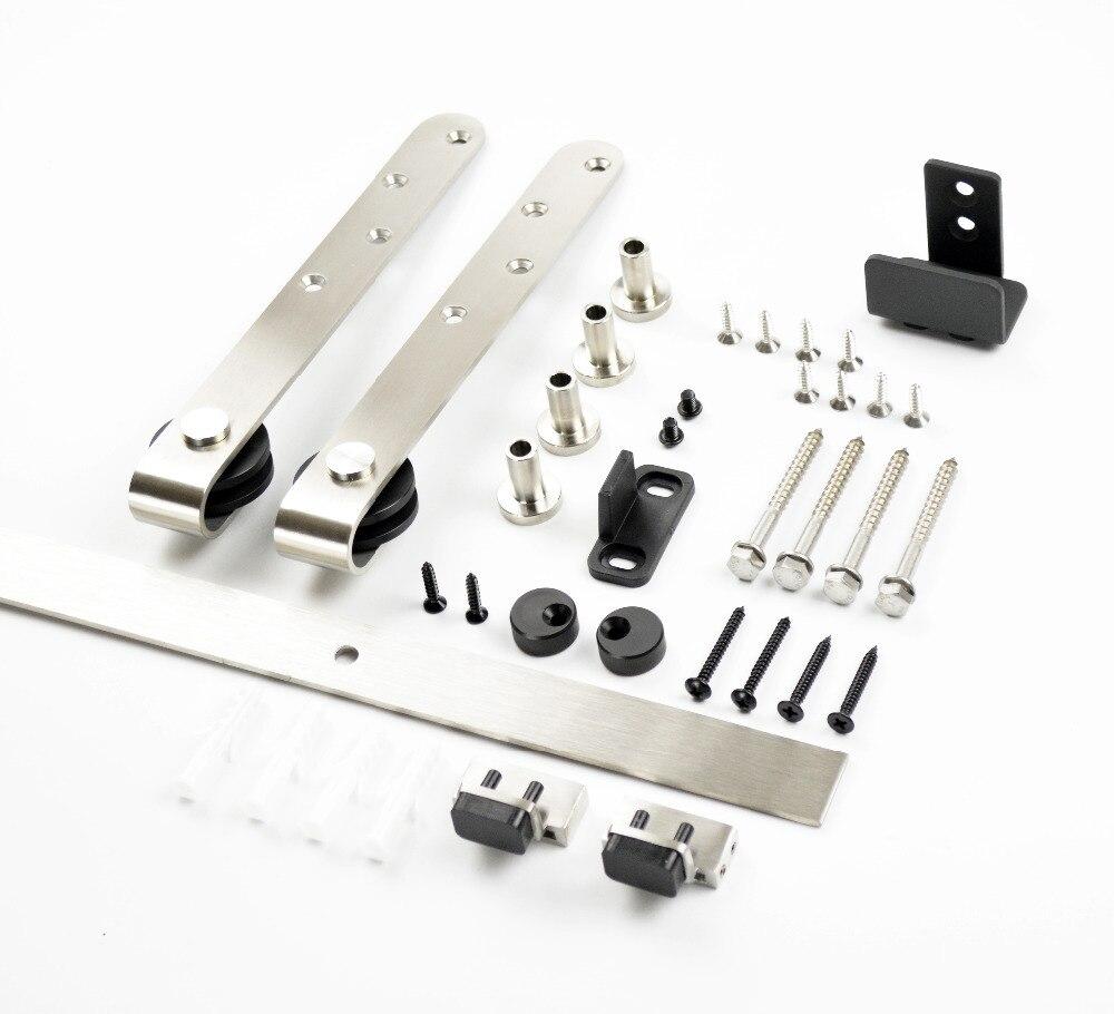 "DIYHD 39""-70"" Stainless Steel Mini Strap Cabinet Brushed Barn Door Hardware"
