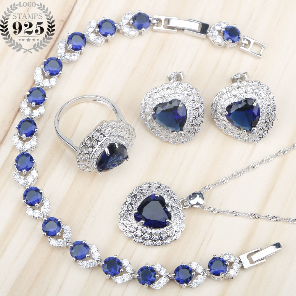 Women Heart Blue Zircon 925 Silver Jewelry Sets Necklace&Pendant Bracelets Earrings Rings Set With Stones jewelery Gift Box