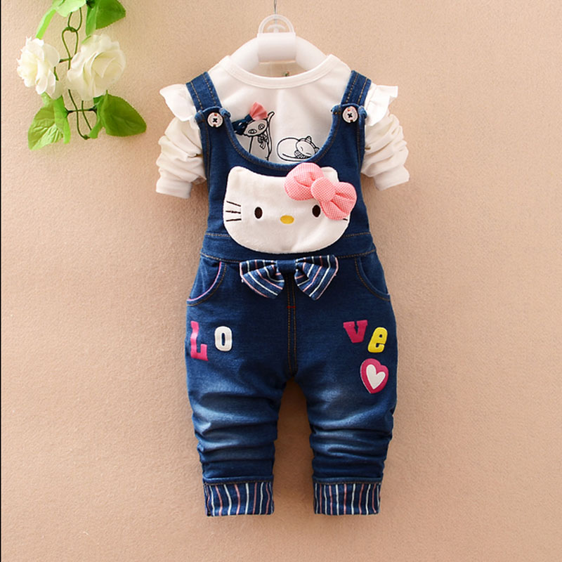 2016 spring new infant baby girls clothing T-shirt + denim overalls suit for girls baby fashion brand hello kitty clothes set heng long