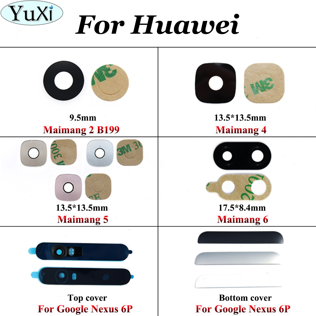 YuXi Rear Back Camera Lens Glass Replacement For Huawei For Google Nexus 6P For Huawei Maimang 6 5 4 2 B199 With Adhesive