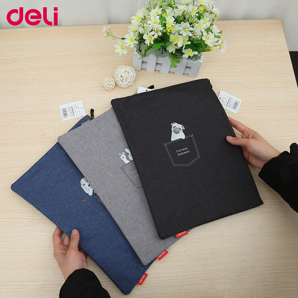 Deli Portable Vertical Fashionable Document Bag For Students Cute Pure Color Big Capacity Light Schoolbag Laptop Bag