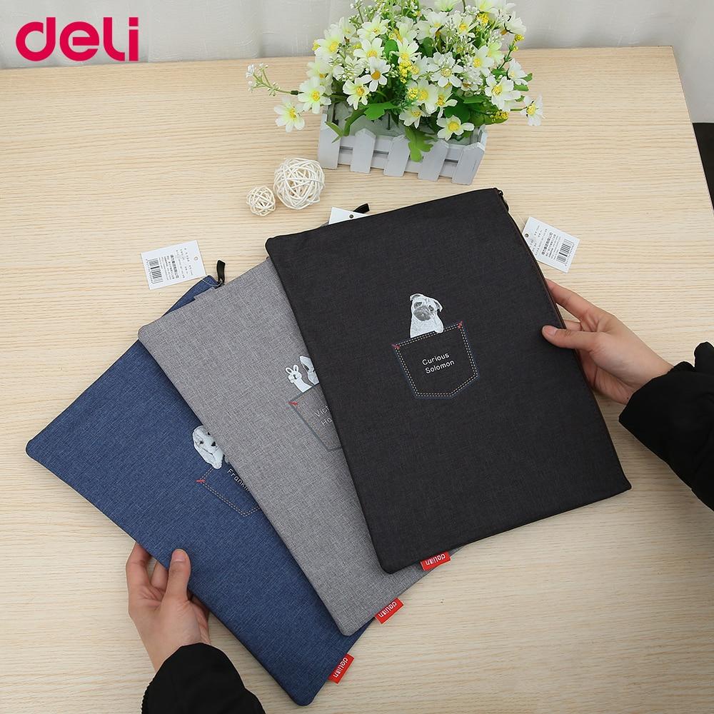 Deli Portable Vertical Fashionable Document Bag For Students Cute Pure Color Big Capacity Light Schoolbag Laptop Bag