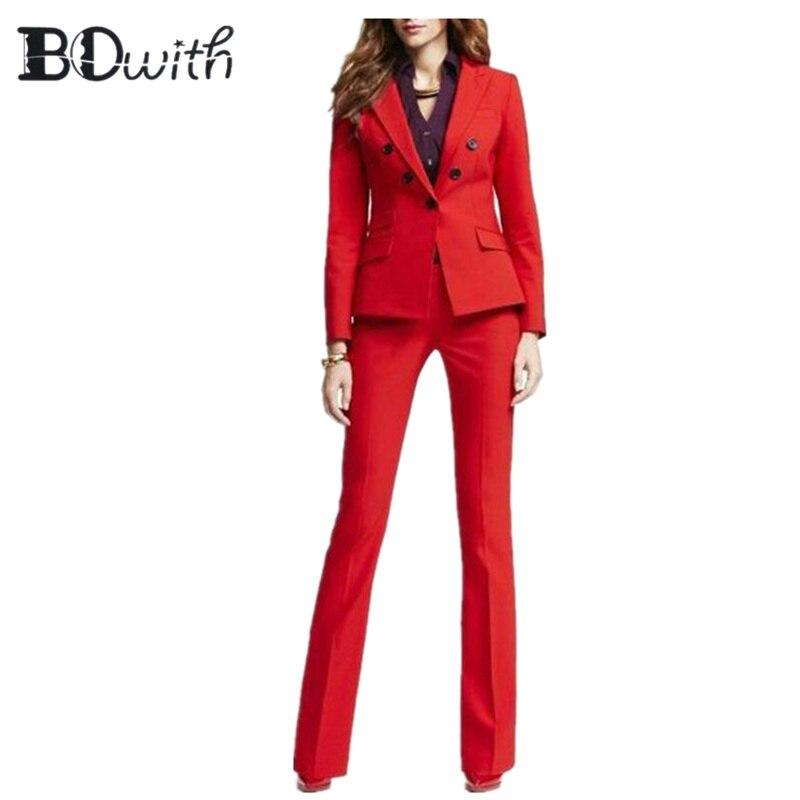 High Quality Red Women Pantsuits Work Pant Suits OL 2 Piece Sets Women Blazer Jacket Pencil