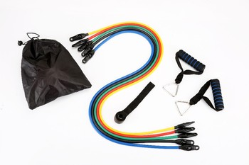 FBA New style 11pcs Latex Resistance Bands Set Resistance Tube with plastic heads 400 sets yoga