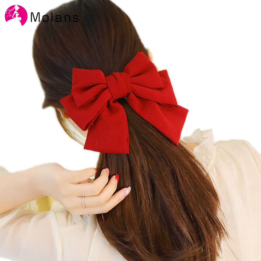 Molans Large Girls' Hair Bow New Flower Printted Fabric Three Layers Barrette Spring Solid Bow Hair Clips Women Hair Accessories