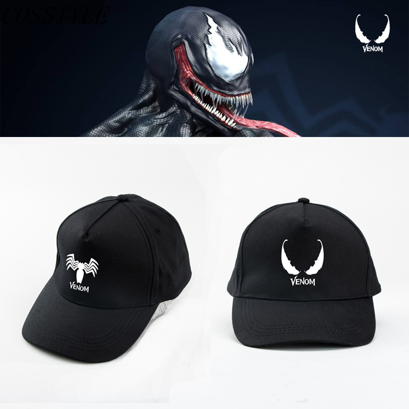 New 2018 Movie Venom Cosplay Tom Hardy Baseball Cap Women Men Black Venom Printing Cap Adjustable Cosplay Props