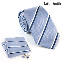 Tailor Smith Pure Natural Silk Striped Tie Pocket Square Hanky Cufflink Gift Set Mens Formal Suit Business Wedding Dress Necktie