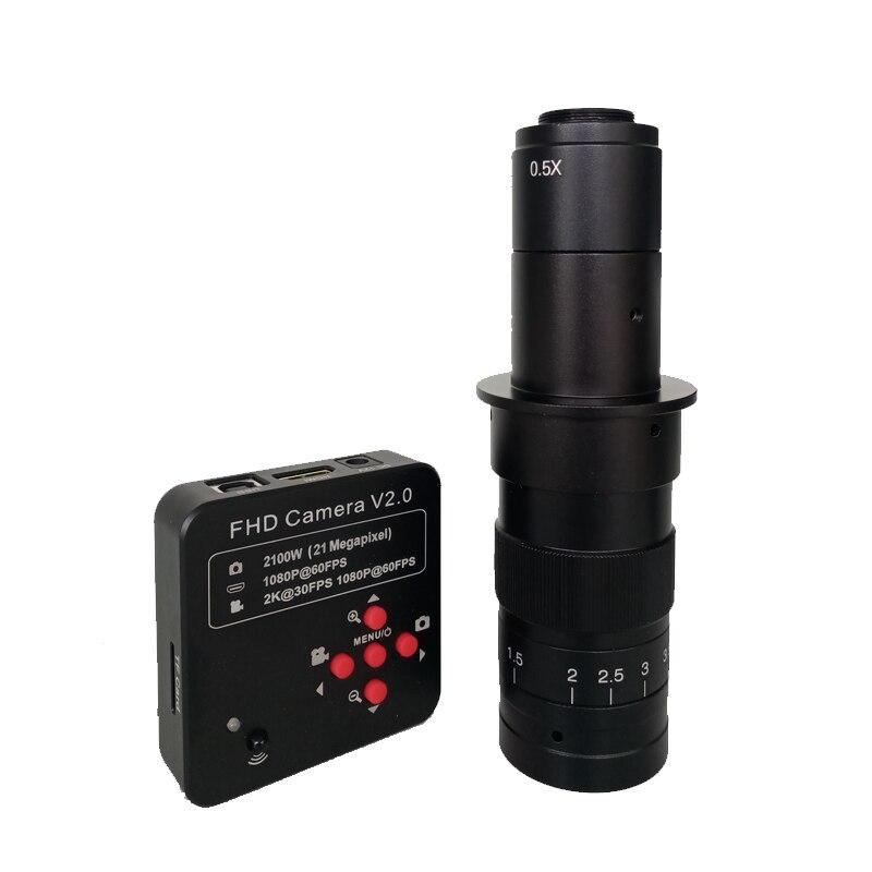 1080 P 60FPS 2 K 2100 W 21MP HDMI USB Microscópio Digital Video Camera + 180X 300X C-Mount lente microscopio