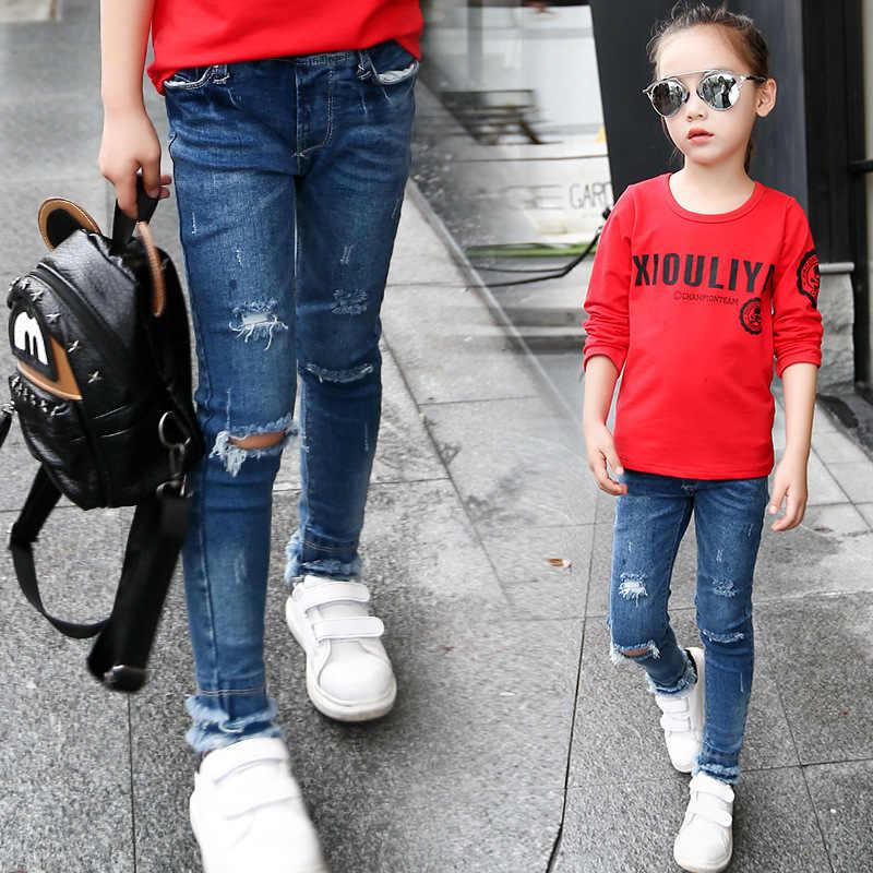 موضة بنات ممزق جينز ربيع صيف خريف 2020 تريند سراويل جينز 6-15T أطفال طفل ثقب السراويل فتاة جيوب كاوبوي طفل