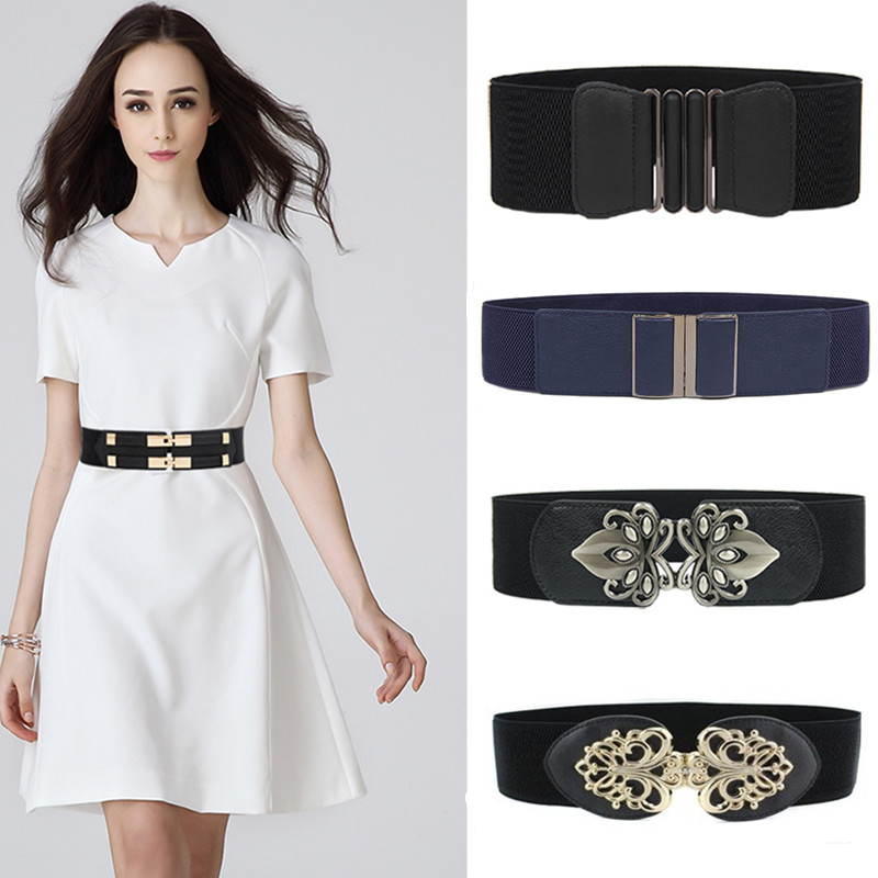 New Style Waistbands Women Cummerbunds Ladies Elastic Belts Black Female Wide Waistband Stretch Corset Cinch Apparel Accessories