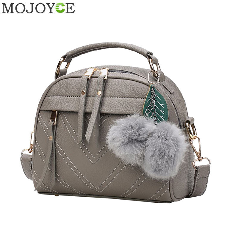 Fashion PU Leather Handbag For Women 2019 New Girl Messenger Bags With Ball Toy Bolsa Female Shoulder Bags Ladies Party Handbags