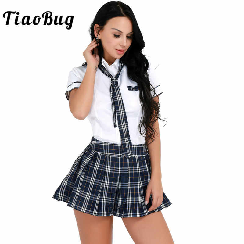 TiaoBug Women Girls Sexy Costumes Hot Women Fancy Cosplay Party School Girl Uniform Short Sleeve Shirt with Plaid Skirt Tie Set