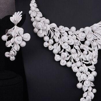 GODKI Luxury Lariat Flower African Cubic Zircon CZ Nigerian Jewelry sets For Women Wedding Dubai Gold Bridal Jewelry Set 2019 3