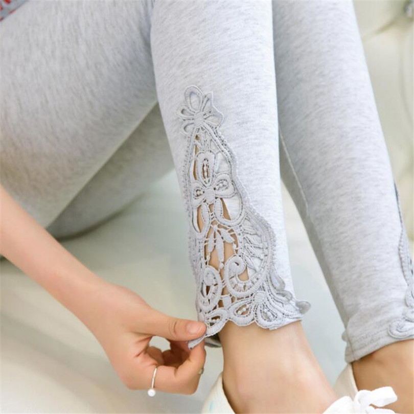 YGYEEG Autumn Spring Summer Fashion Women Lace Leggings Skinny Hollow Leggins Elastic Casual Black Light Gray And Navy Cotton