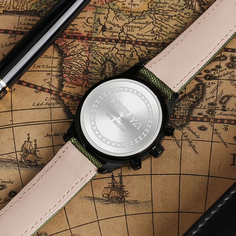 YISUYA Mens Watch Army Sport Analog Day Date Quartz Calendar Pilot Stylish Male Chronograph Aviator relogio masculino (2)
