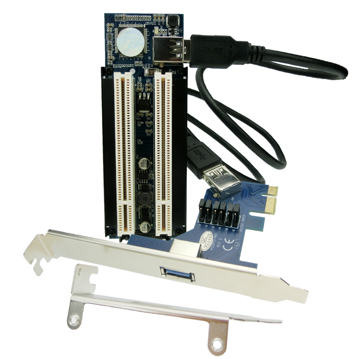 Free shipping PCI-e x1 x4 x8 x16 to Dual PCI slots adapter, pci express to 2 pci card цена
