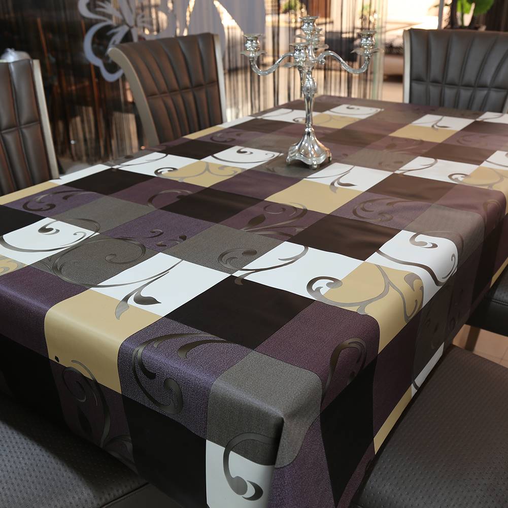 Polyester European Style Plaid Table Cloth Rectangular Waterproof Non Wash Pad Plus Velvet Anti Hot Coffee Tablecloth