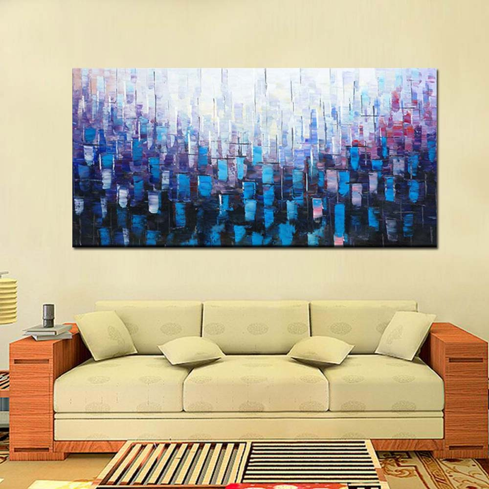 Modern Abstract Art Hand Painted Blue Thick Impasto Canvas Oil ...