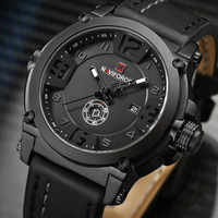 2017 New Fashion Mens Watches Naviforce Militray Sport Quartz Men Watch Leather Waterproof Male Wristwatches Relogio Masculino