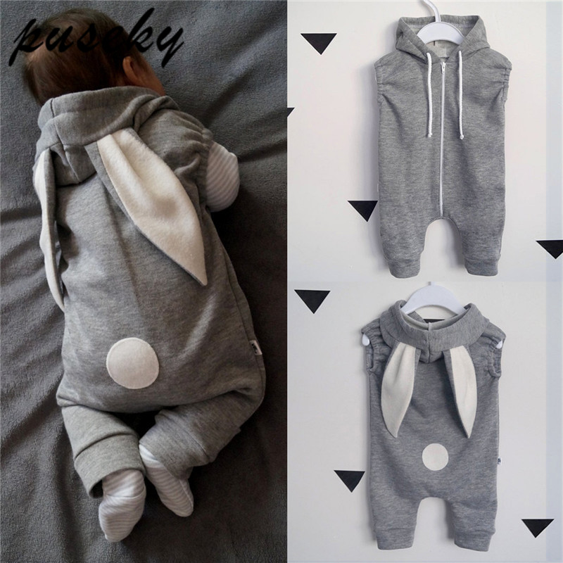Cute Rabbit Ear Hooded Baby   Rompers   For Babies Boys Girls Clothes Newborn Clothing Brands Jumpsuit Infant Costume Baby Outfits