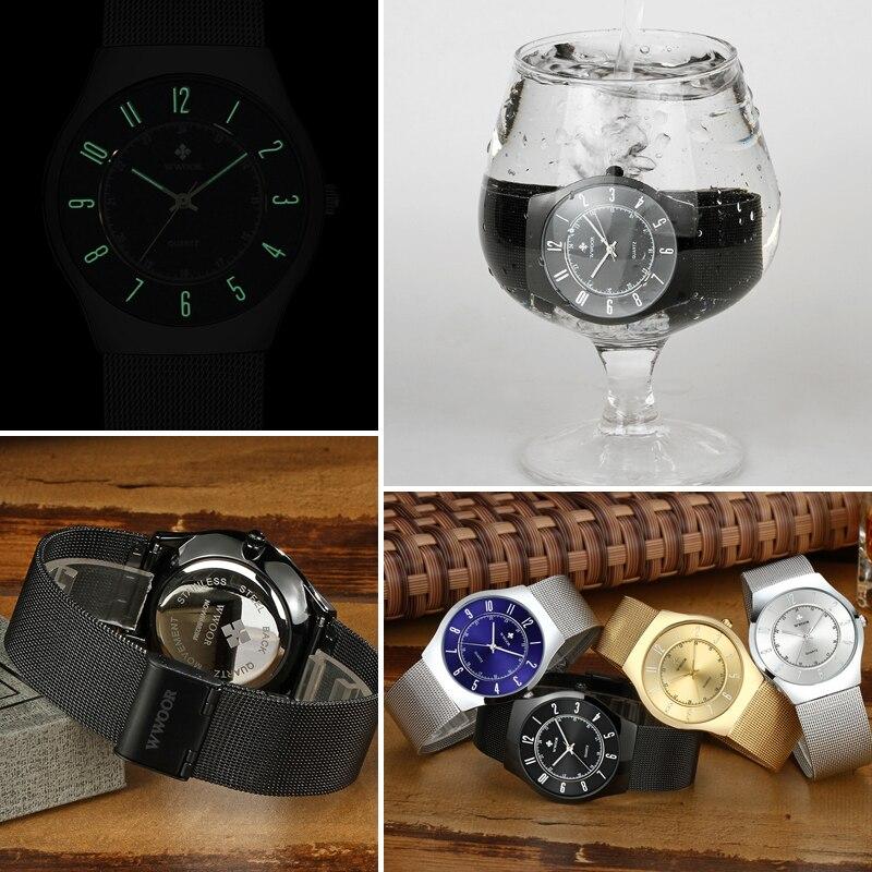 Image 5 - WWOOR Top Brand Luxury Men Ultra Thin Waterproof Sports Watches Men's Quartz Wrist Watch Male Slim Black Clock relogio masculino-in Quartz Watches from Watches