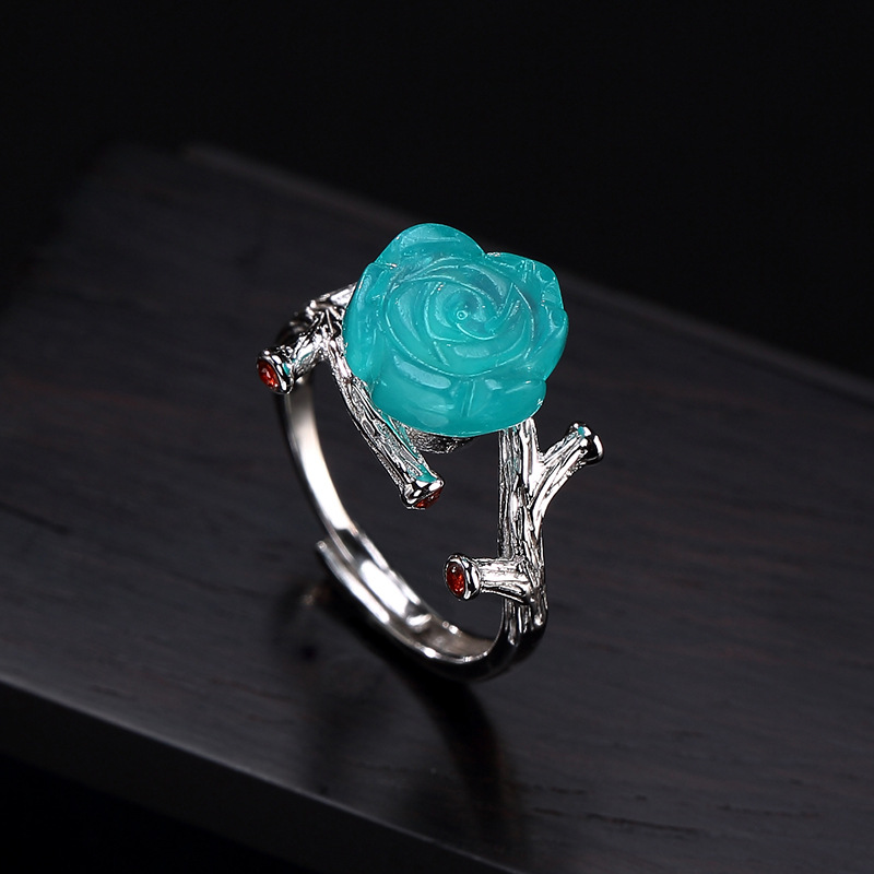 2018 Rose Anel Feminino Hot Sale S925 Pure Inlay Amazonite Restoring Ancient Ways Ms Rose Its Premium Wholesale Opening Ring 2018 Rose Anel Feminino Hot Sale S925 Pure Inlay Amazonite Restoring Ancient Ways Ms Rose Its Premium Wholesale Opening Ring