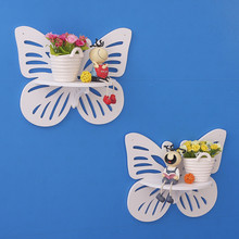 1Pcs Butterfly Decorative Waterproof Wall Storage Holder with Wood Hooks for Bedroom Living Room Single Wall Hanging Shelves