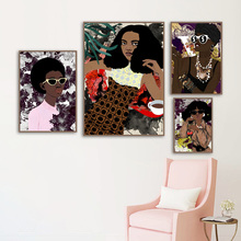 Fashion Girl Africa Model Leaf Wall Art Canvas Painting Nordic Posters And Prints Abstract Pictures For Living Room Decor