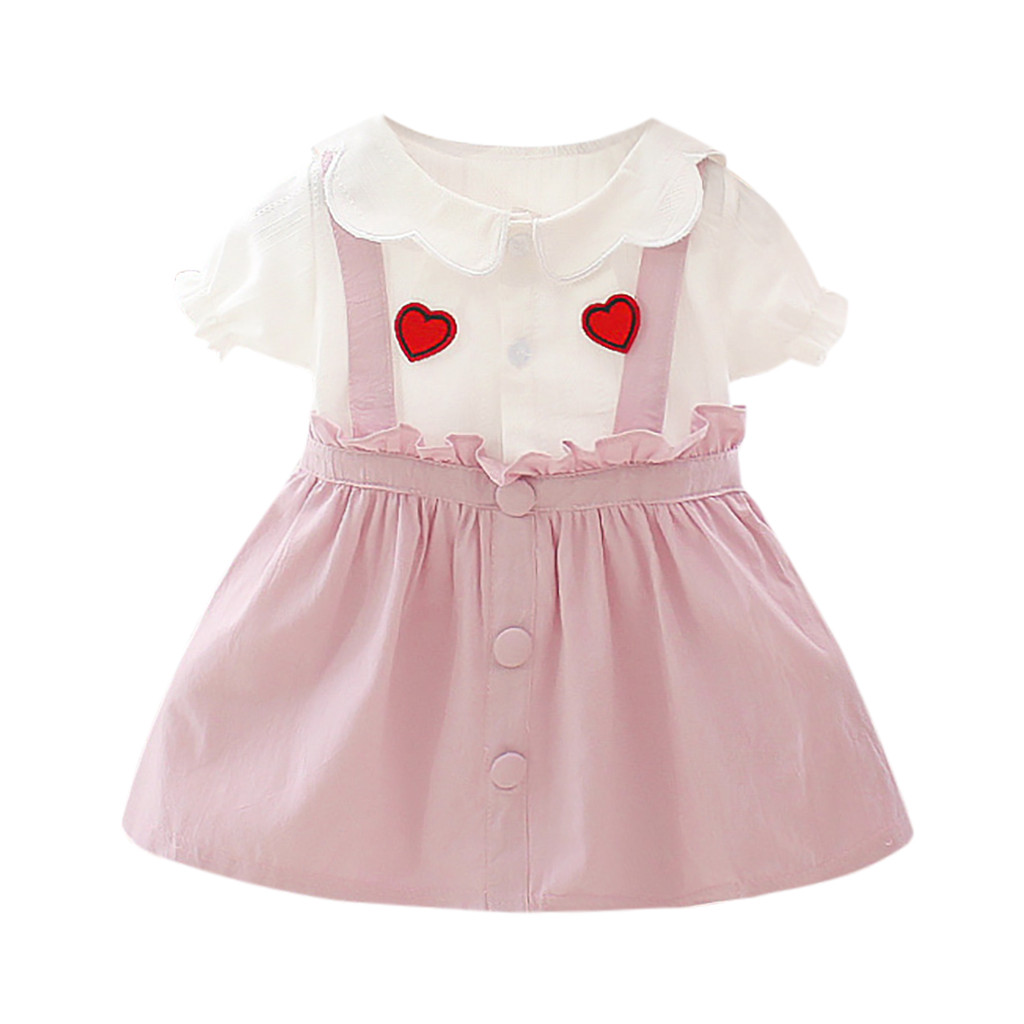 Infant Baby Girls Print Ruffles Half Sleeve Dress Summer Dress Outfits Clothes