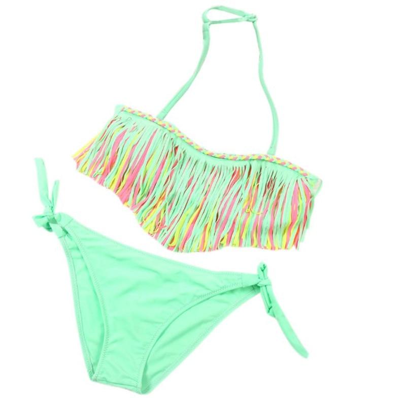 1 Satz Sommer Badeanzug Mädchen Kinder Kinder Kleidung Baby Mädchen Sommer Bademode Quaste Kinder Split Nylon Badeanzug Bikini Set New Heißer