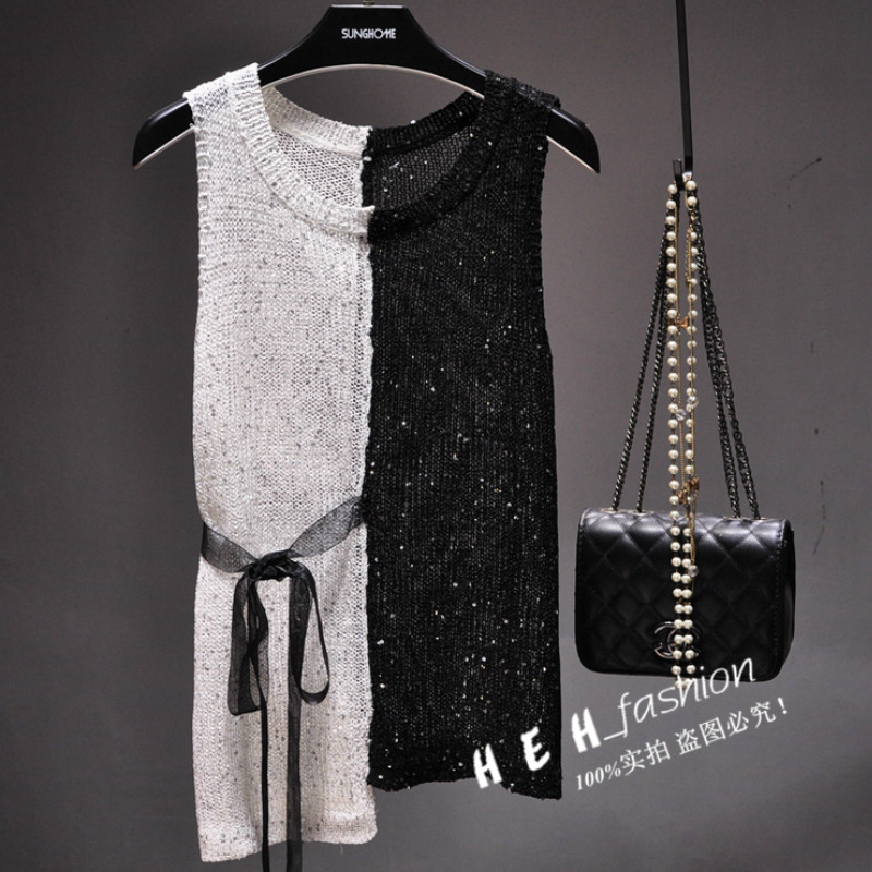 Women Sequined Knitted   Tank   Hit Color Camisole Sleeveless Pullover Shirts Bling Crocheted Vest Sashes Slim   Tanks     Tops   with Belt
