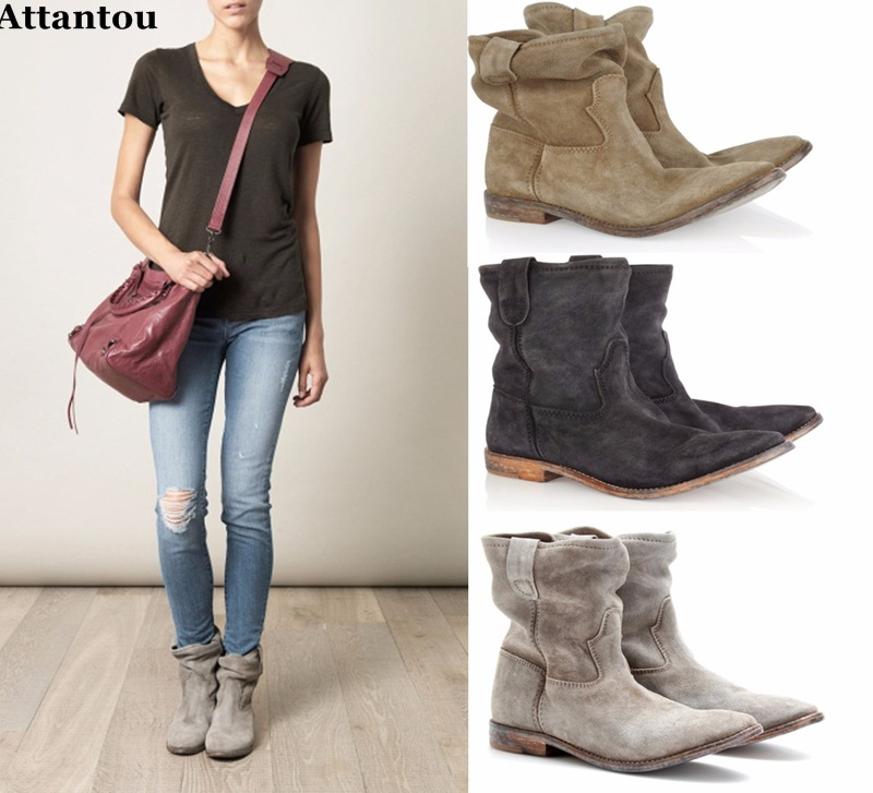 Attantou Women Ankle Boots Suede Autumn Shoes Flat Nubuck Leather Retro Distressed Biker Boots Women Motorcycle Boots Shoes Cool