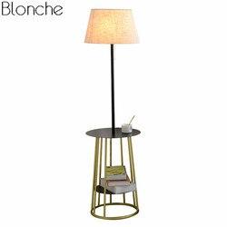 Nowoczesna lampa podłogowa tkanina abażur amerykański lampa stojąca do salonu sypialnia podłoga światła oprawy stół żeliwny domu oprawa