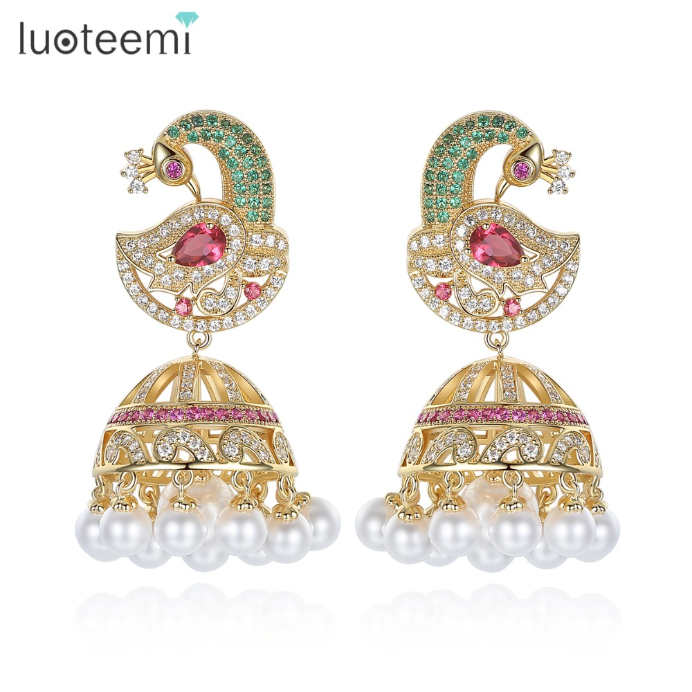 LUOTEEMI Ethnic Bridal Jewelry Antique Gold Color Bird With Created Pearl Umbrella Drop Indian Jhumka Jhumki