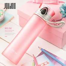 JOUDOO 400ML Sport Frosted Bottles Portable With Rope Plastic Water Cute Candy Colord Bottle For SL0005 35
